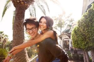 Happy Couple Outside Neighborhood
